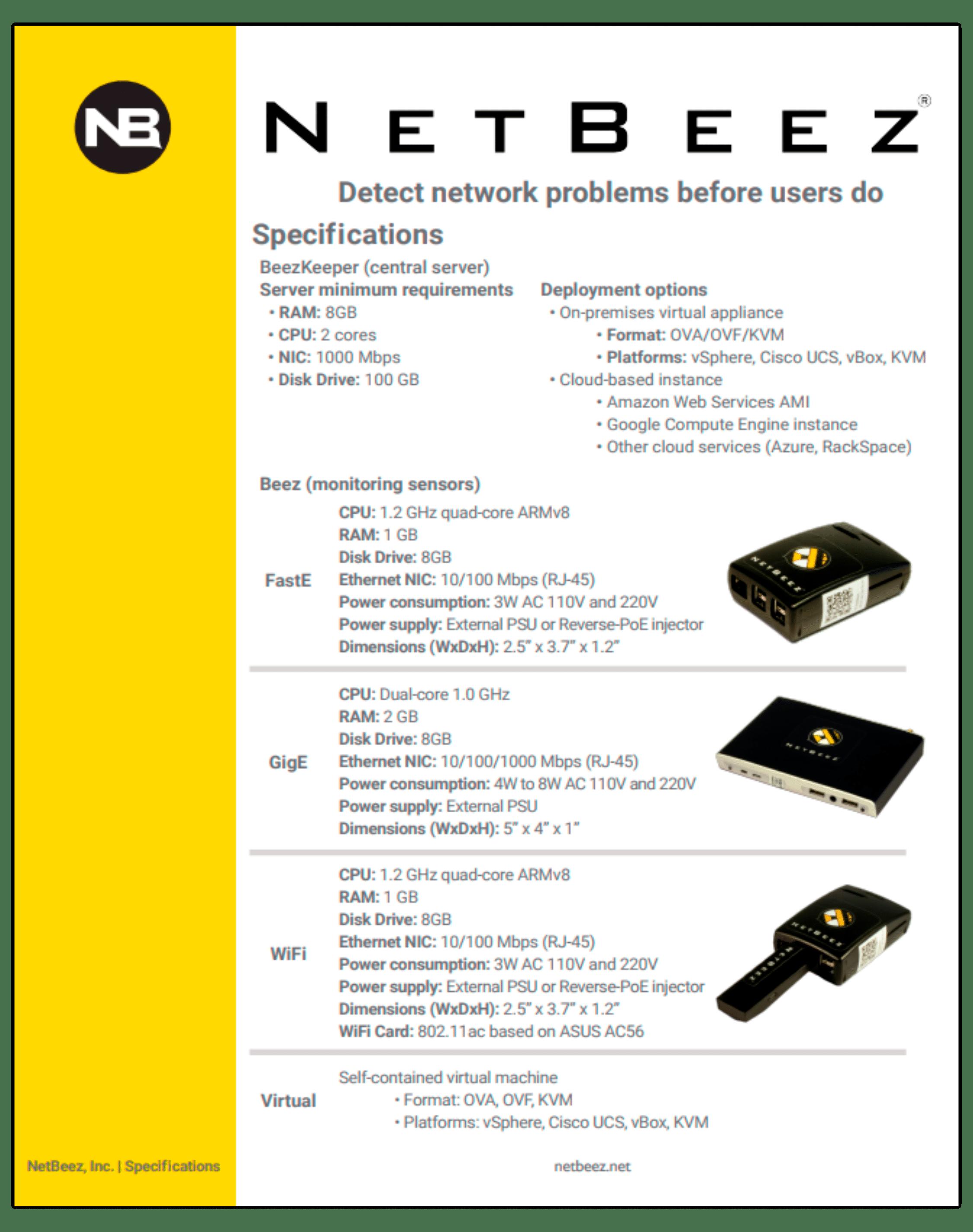 netbeez-specs | NetBeez