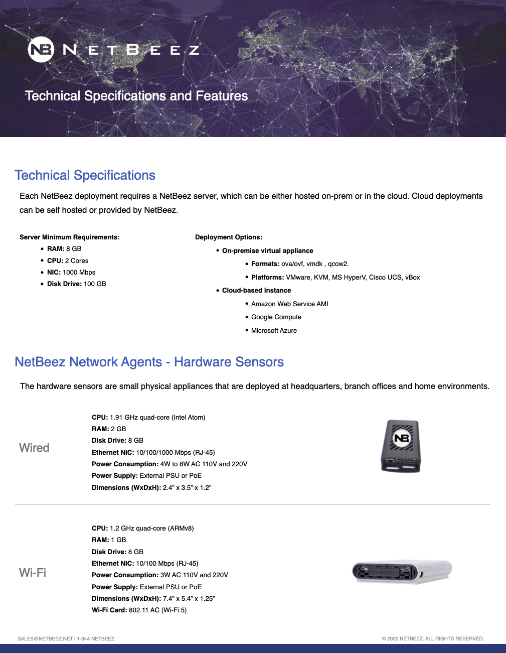 NetBeez Technical Specifications and Features