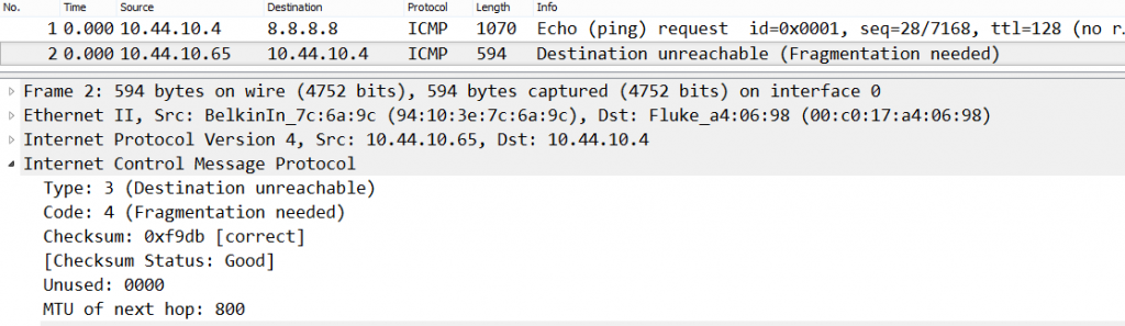 Ping packet capture