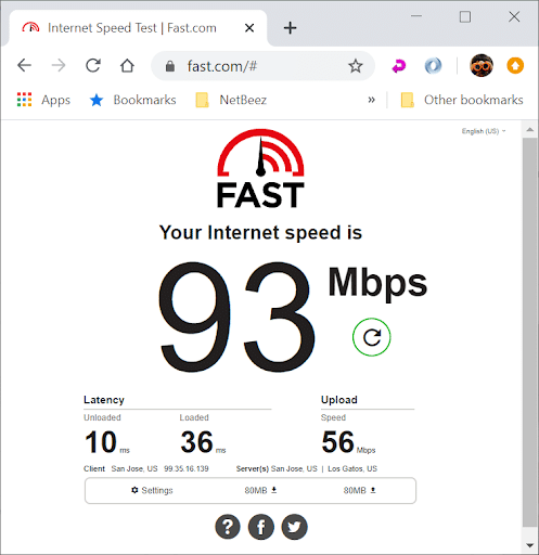 Testing Internet bandwidth with fast.com