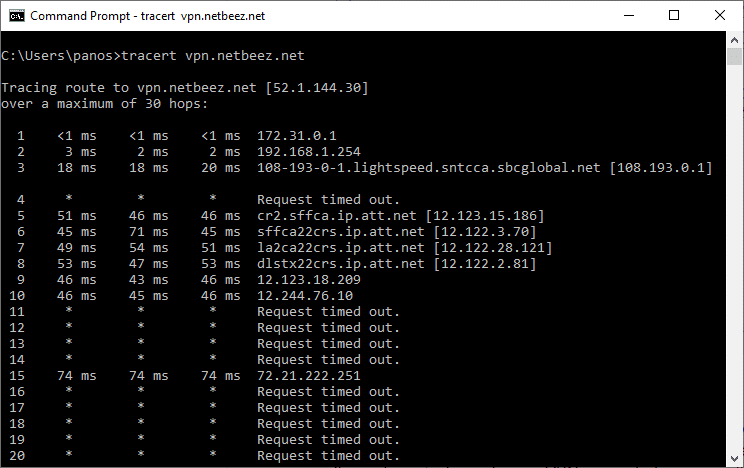 Troubleshooting VPN hop-by-hop information with traceroute