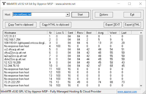 Troubleshooting VPN hop-by-hop packet loss with MTR