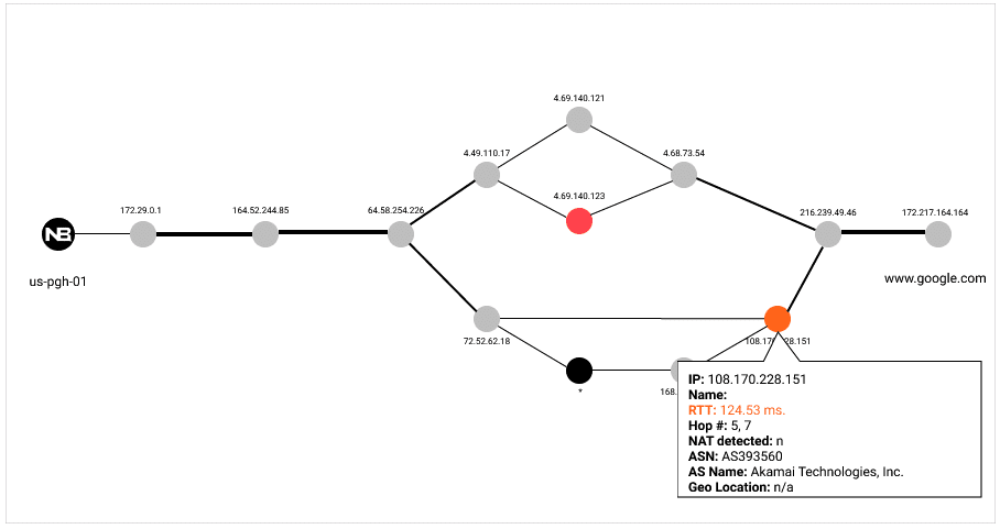 NetBeez path analysis